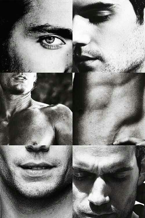 Actor Henry Cavill presented to the viewer in 6 close ups of his eyes, lips, face and physique. A good example of a portrait series intended to portray masculine 'beauty'.