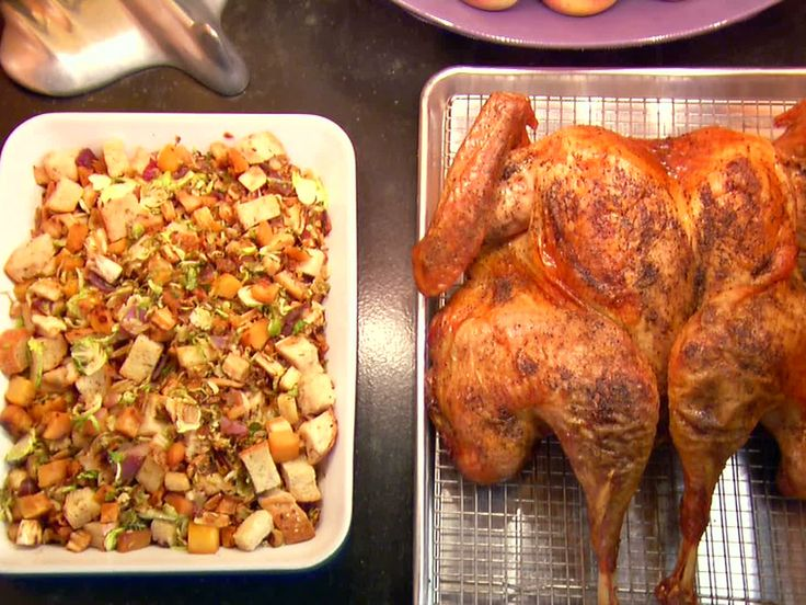 Butterflied, Dry Brined Roasted Turkey with Roasted Root Vegetable Panzanella from FoodNetwork.com