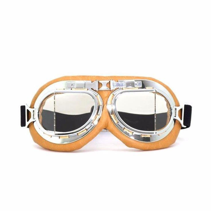 Aviator Pilot Bike Motorcycle Cycling Goggles Eyewear Yellow Frame Clear Lens