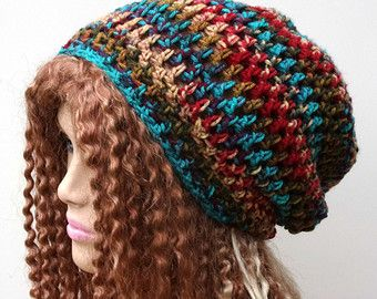 Southwest Snood Dread Sock Tam Slouchy Beanie Hippie Baggy Hat Handmade