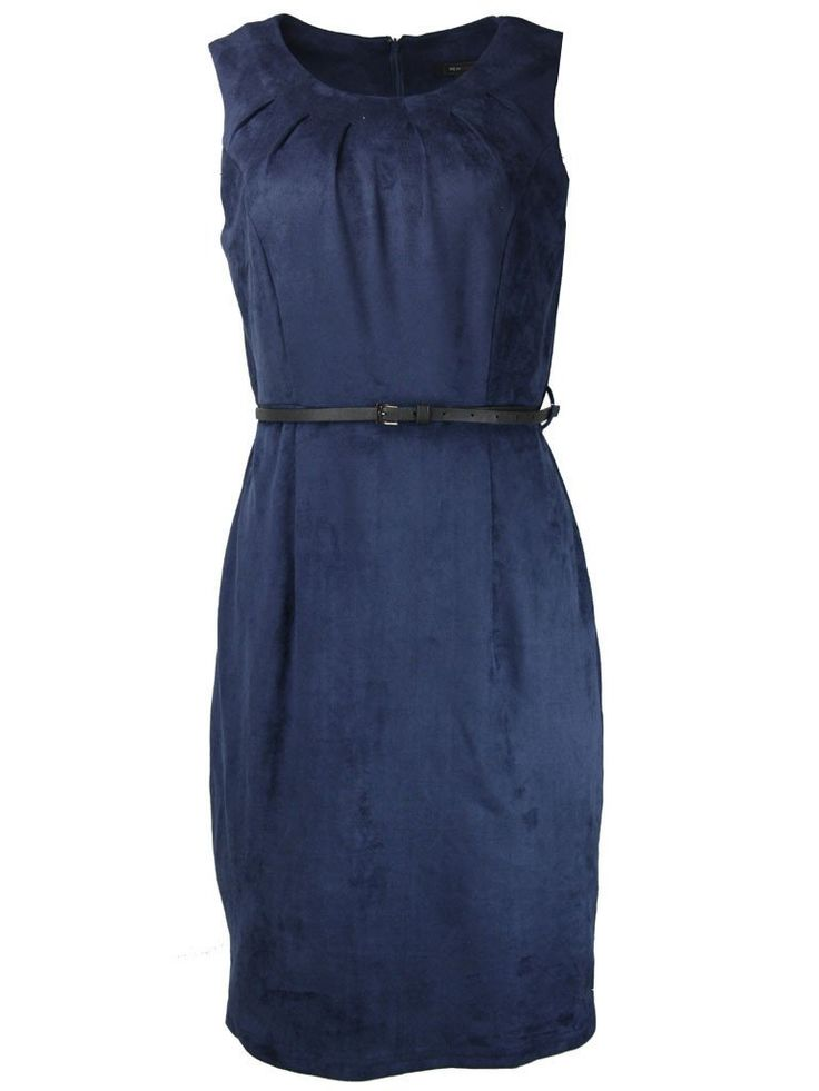 Cecil Navy Suede Career Dress