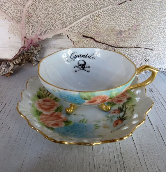 Cyanide Poison Tea Cup Bone China Altered Vintage Teacup Gothic Tea Party Pink and Blue on Etsy, $38.00