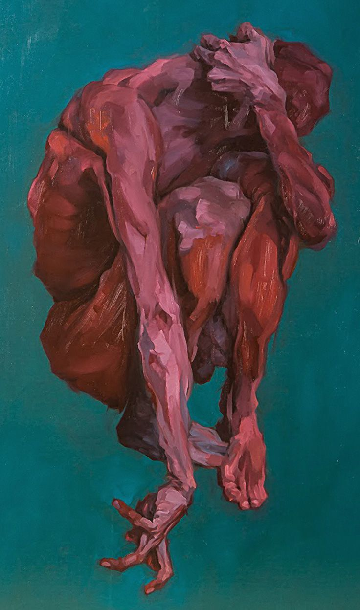 """Untitled"" - Edouard Labrosse (French, 1983) kneeling red figure expressionist painting, 2012. http://cargocollective.com/edlab"