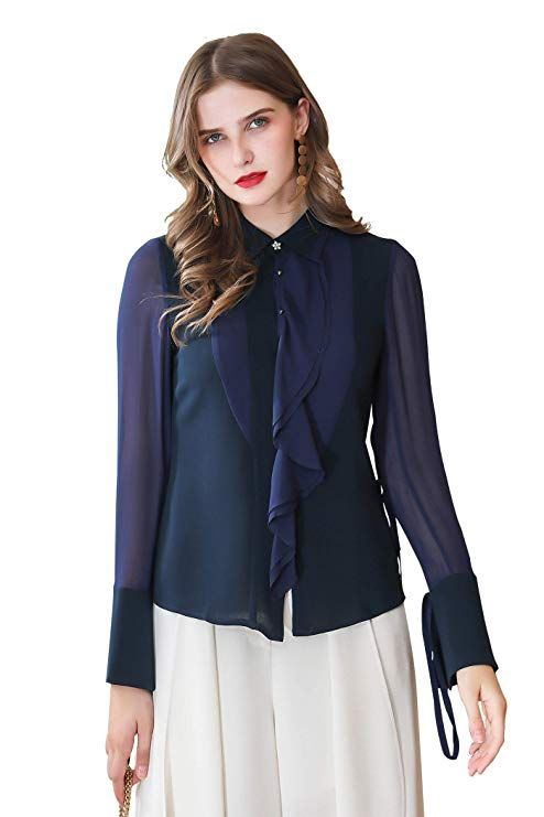 19713fcb VOA Heavy Silk 41 MM Sailor Blue Lapel Ruffled Perspective Long-Sleeved  Shirt   Ala's Styles