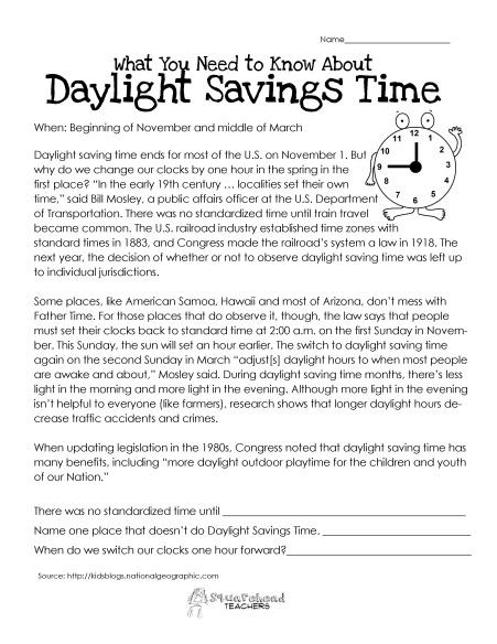 FREE Daylight Savings Time worksheet for kids