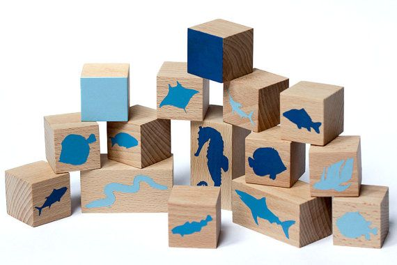 Fish wooden block set Wooden toy Educational gift by KaneToys