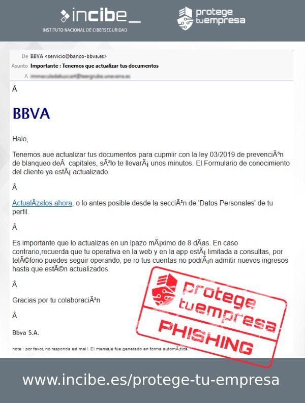 Nueva Campaña De Correos Electrónicos Fraudulentos De Tipo Phishing Suplantando A Bbva Ten Cuidado Que No Te Avisos De Seguridad Bbva Blanqueo De Capitales