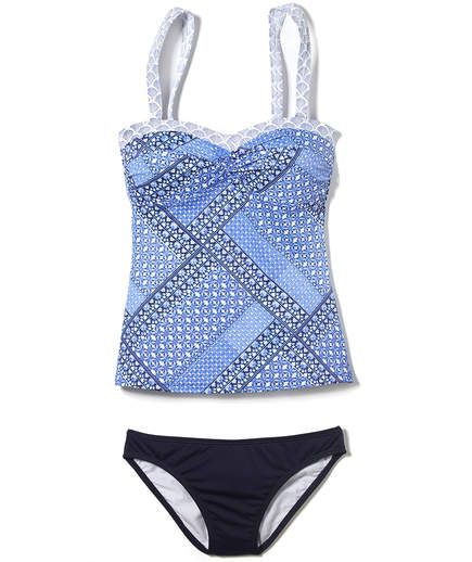 L.L. Bean Mix-and-Match Swim Collection Bandeau Tankini | Swimsuits for all in flattering fabrics and clever cuts that are suited for real bodies.