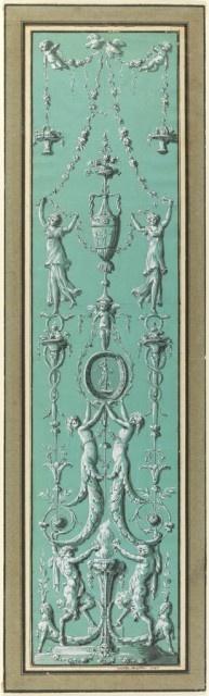 Drawing: Panel of Arabesques for the Hôtel de Salm, Paris, 1785, Jean-Guillaume Moitte.