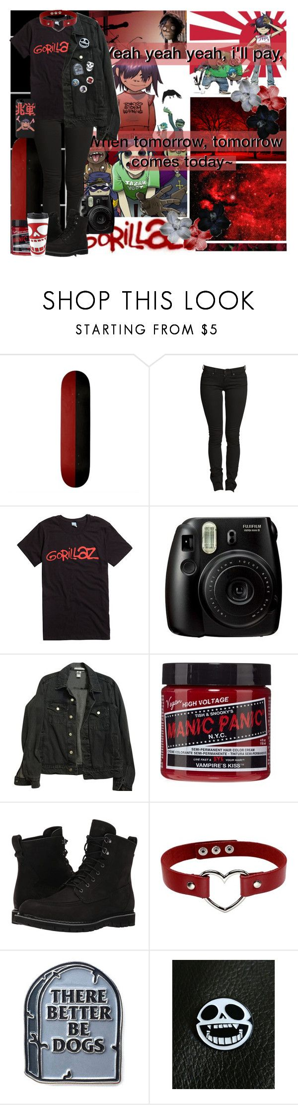 """""""~Yeah yeah yeah i'll pay, when tomorrow, tomorrow comes today~//Gorillaz"""" by chemicalfallout249 ❤ liked on Polyvore featuring Fujifilm, American Apparel, Timberland, Thot, Hot Topic and country"""