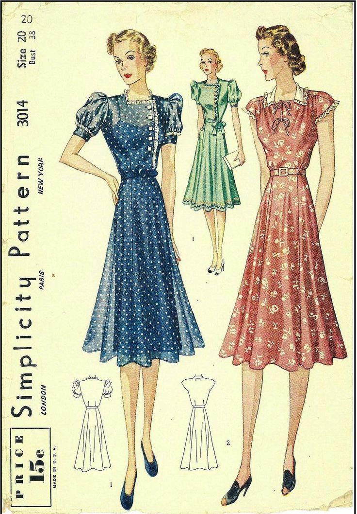 1940s Ladies Dresses Sewing Pattern - Simplicity #3014