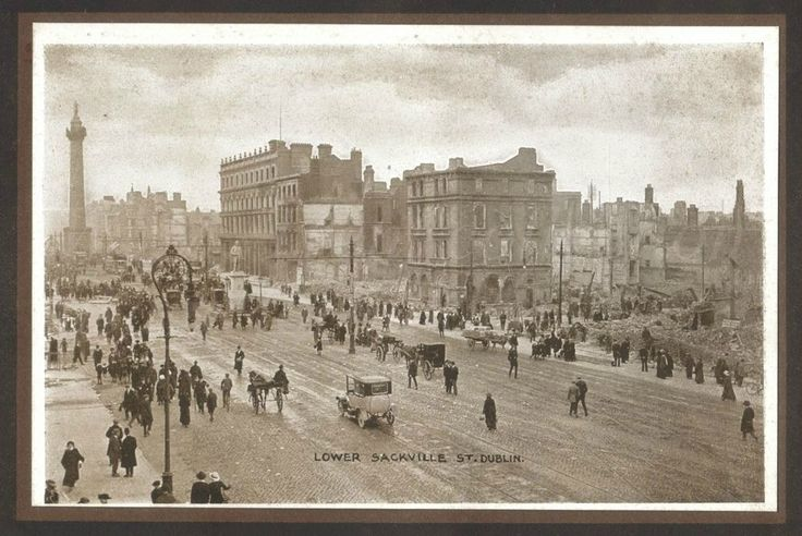 From a photo booklet published by Eason & Son of Dublin and Belfast regarding the Easter Rising of 1916.  The devastation of Lower Sackville St [now O'Connell St] looking towards Nelson Pillar – the Pillar survived the Rising but was blown-up in 1966.  www.flickr.com/photos/w77t/sets/72157651417064270/  Photo by Chancellor of Dublin.