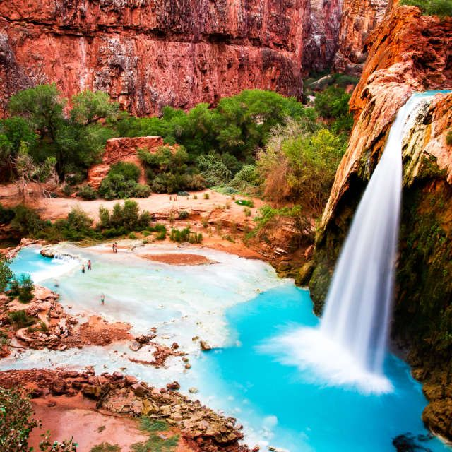 Havasu Falls--just outside Grand Canyon National Park.  Rated best waterfall hike in the southwest. Must do!,