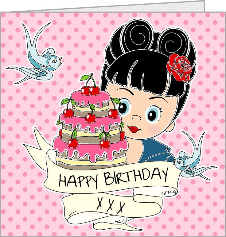 Leuke verjaardagskaart van www.gijnig.com Rockabilly meisje met verjaardagstaart met de tekst; Happy Birthday, op roze stippen achtergrond. #gijnig #verjaardag # gefeliciteerd #happybirthday #illustratie #rockabilly #wholesale