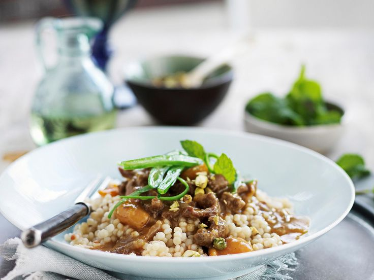 You can use chicken in place of lamb, and swap the pearl couscous for instant, if you prefer.