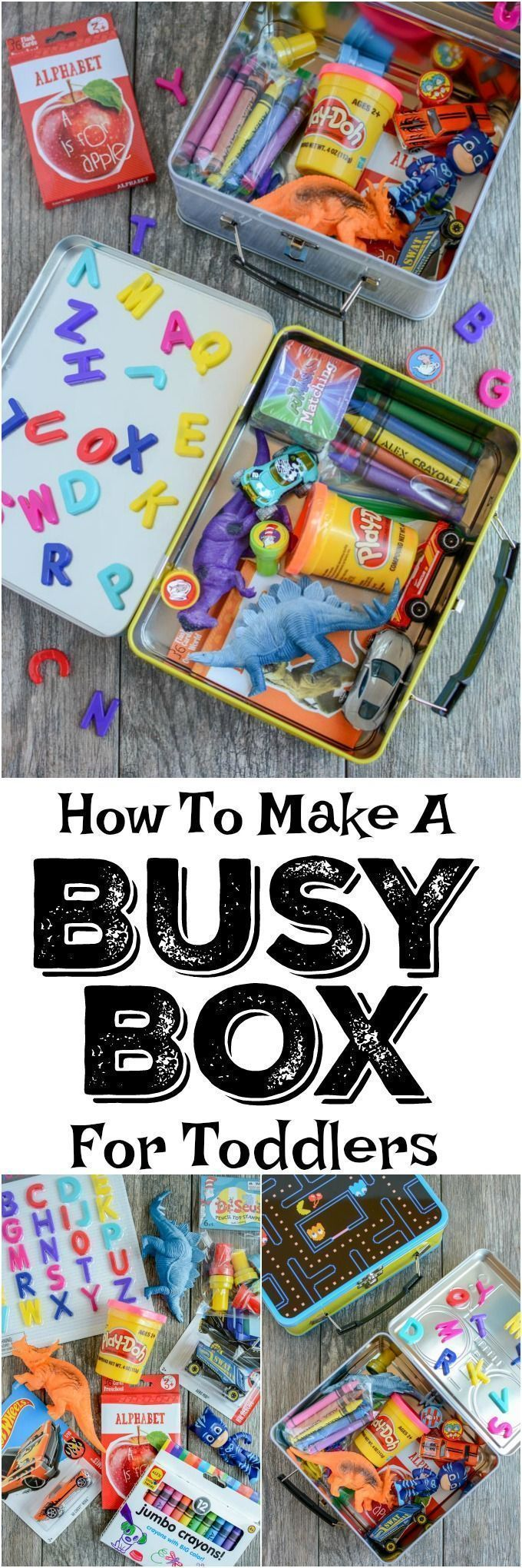 Learn how to make a busy box for toddlers. These boxes are easy to customize and perfect for keeping toddlers occupied at a restaurant, on a plane, while mom is nursing and more! #travelforkids #roadtripgamesfortoddlers