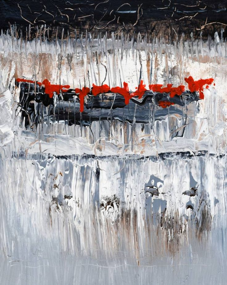 Buy NN202, a Acrylic on Canvas by Radek Smach from Czech Republic. It portrays: Abstract, relevant to: red, black, white, abstract expressionism, contemporary, abstraction, grey, layered, minimalism Original abstract layered painting on canvas.  Ready to hang. No framing required (it can be framed).  The sides of the painting are painted.  Signed on the back