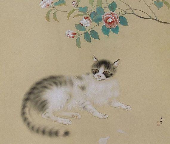 Vintage Art japonais peinture chat et ressort par SakuraAntiques