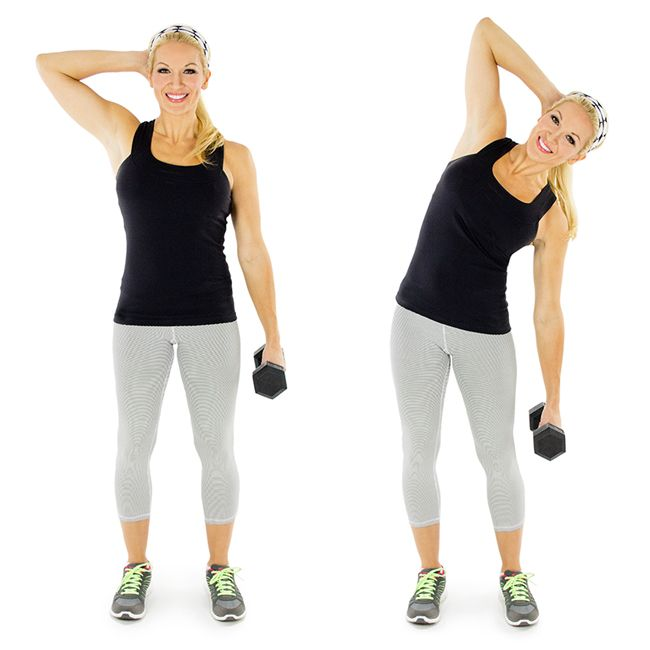 Weighted Standing Side Crunch (Skinny mom)