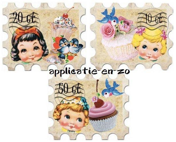 Strijkapplicatie Whazz postzegels girls