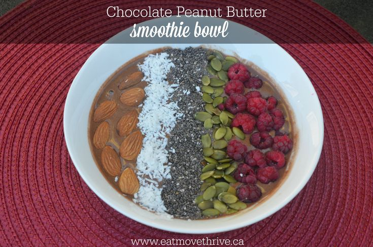 Chocolate Peanut Butter Smoothie Bowl Recipe #cleaneating #cleaneats #smoothie #healthy