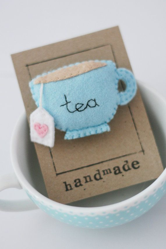 Blue Teacup Felt Brooch, Tea, Embroidery, Teabag. I hope this sells really well... Its the most popular pin i have