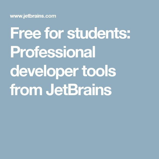 Free for students: Professional developer tools from JetBrains