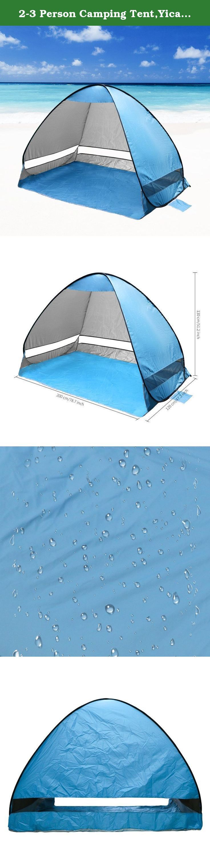 """2-3 Person Camping Tent,Yica Outdoors Pop Up Lightweight Beach Canopy Tent,UV 50+ Protection,Automatic Family Sport Sun Shelter Sunshade,Kids Play Tent,for Camping Fishing Hiking Picnicing. The Yica Quick Draw 78.7"""" x 47.3""""x 51"""" Sun Shelter is perfect for the beach, backyard or any other place you need get some shade from the sun or protection from the elements. With the integrated pole system, the poles are built into the tent, eliminating the difficulty associated with traditional…"""