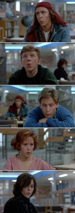 But, what we found out is that each one of us is: a brain . . . And an athlete . . . And a basket case . . . A princess . . . And a criminal. Does that answer your question? Sincerely yours, The Breakfast Club.