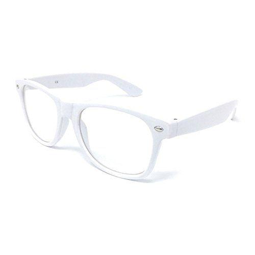 Clear Lens Wayfarer Style Fancy Dress Glasses - Geek Nerd Retro Hipster Sexy Schoolgirl Outfit Vintage (White) #Clear #Lens #Wayfarer #Style #Fancy #Dress #Glasses #Geek #Nerd #Retro #Hipster #Sexy #Schoolgirl #Outfit #Vintage #(White)