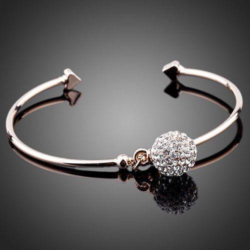 Adjustable Austrian Crystals Pendant Rose Gold Plated Bangle Bracelet