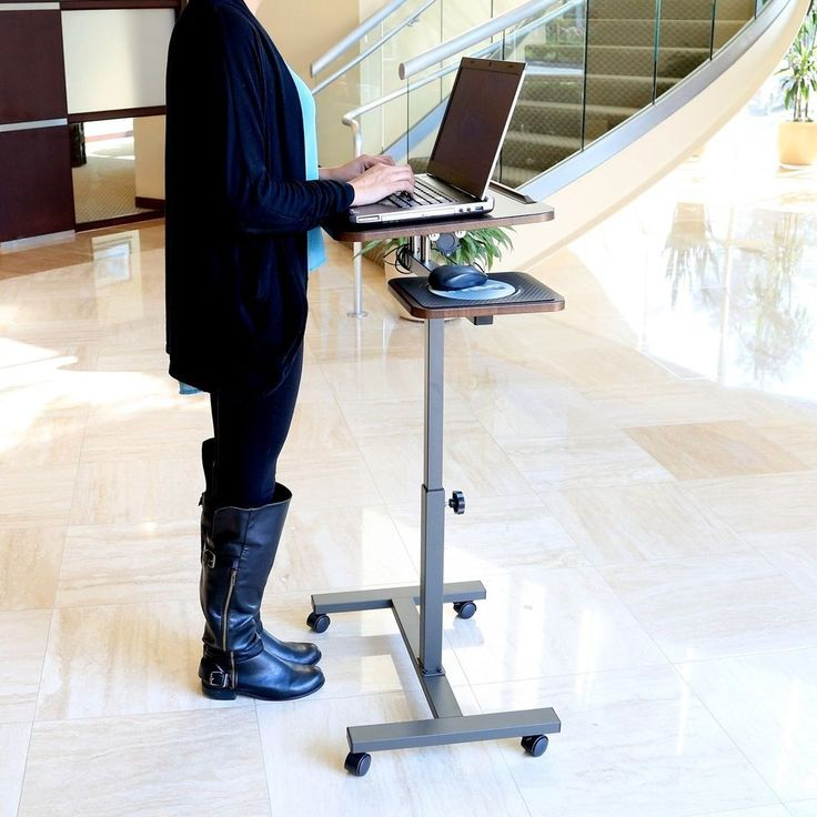 Mobile Laptop Desk With Side Table Long Table Legs Office Doctor Medical  Wheels