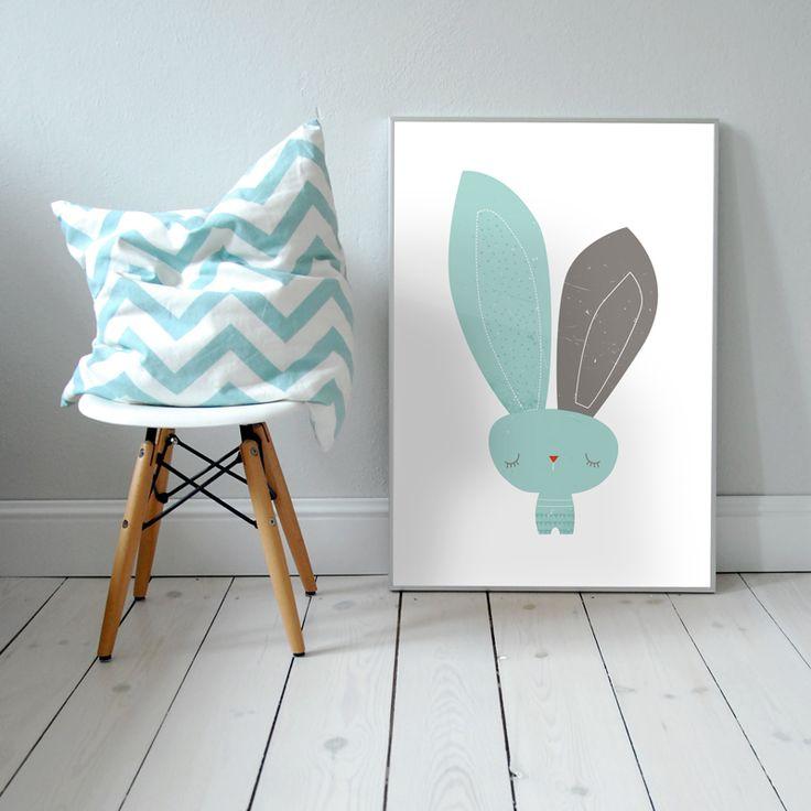 Mr Bunny. Plakat dla dzieci. pokój dziecka | królik | ilustracja | nursery poster | scandinavian style | bunny | animal | baby | illustration | baby room