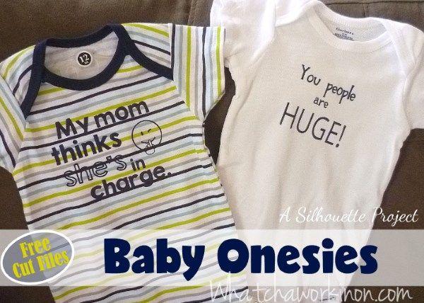 Free SIlhouette cut file for baby onesies in heat transfer vinyl.