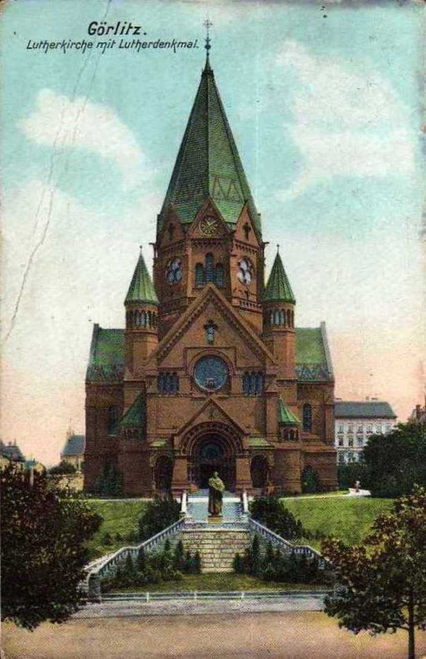 Kościół luterański , Zgorzelec - 1908 rok, stare zdjęcia