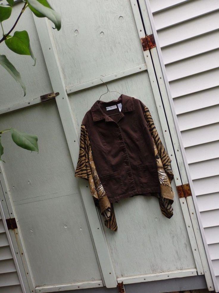 Batwing Boho Brown Coin Embellished  Tribal Festival Poncho Jacket   Sz L #unknown #JeanJacket