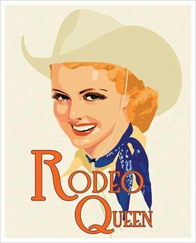 cute vintage cowgirl print