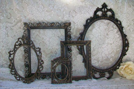 Ornate Frames,Vintage Frames, Black Frame Set, Shabby Chic, Victorian, Gothic, Black & Gold Distressed, Wall Gallery, Home, Wedding Decor