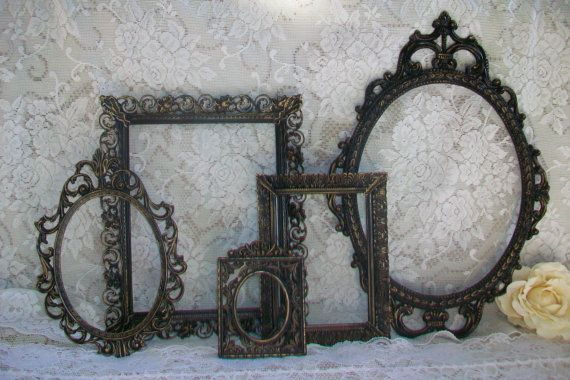 Ornate Frames,Vintage Frames, Black Frame Set, Shabby Chic, Victorian, Gothic, Black & Gold Distressed, Wall Gallery, Home, Wedding Decor