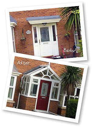 Before and After photos of a Truly PVC uPVC porch