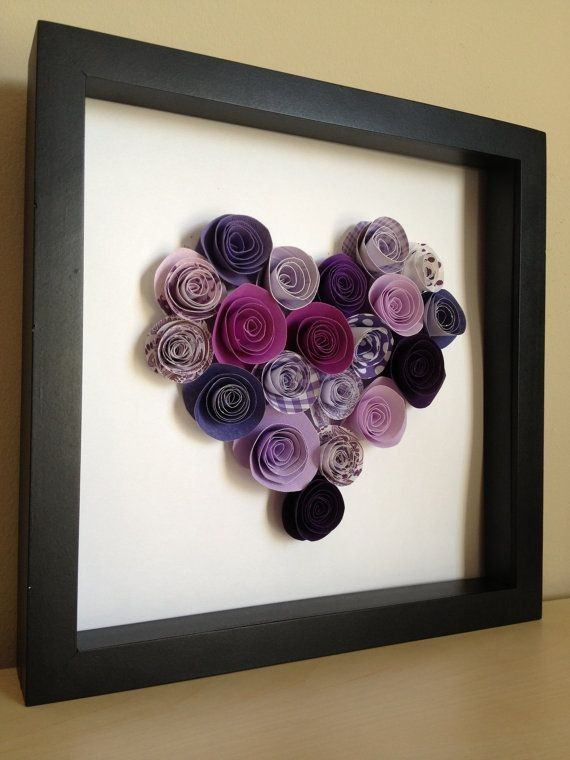 Personalized diy Purple Paper Roses Heart in frame - wall decoration, paper roses crafts