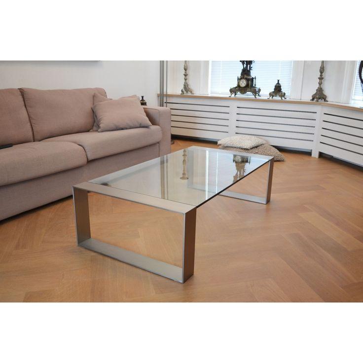 glazentafel.com | Stijlvolle hardglazen salontafel met geborsteld roestvrij staal (RVS) of chroom frame. Het blad van de glazen salontafel Modena is verkrijgbaar in 5 maten | 12 mm glas