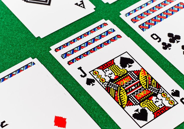 A real deck of cards in the pixelated style of Macintosh graphics designer Susan Kare.