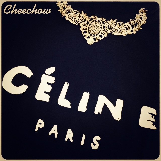 Celine t-shirt,statement necklace,vintage necklace