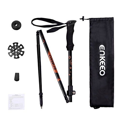 Enkeeo Collapsible Trekking Pole for Hiking/Walking/Traveling/Backpacking, 4-Section Design Aluminum Alloy Shaft EVA Hand Grips Adjustable Wrist Straps Mud/Snow Baskets Combination lock, Black and Orange, 1 Piece