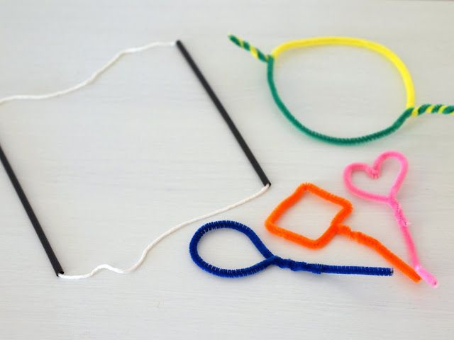 Make pipe cleaner bubble wands and big bubbles bubble for Giant bubble wand
