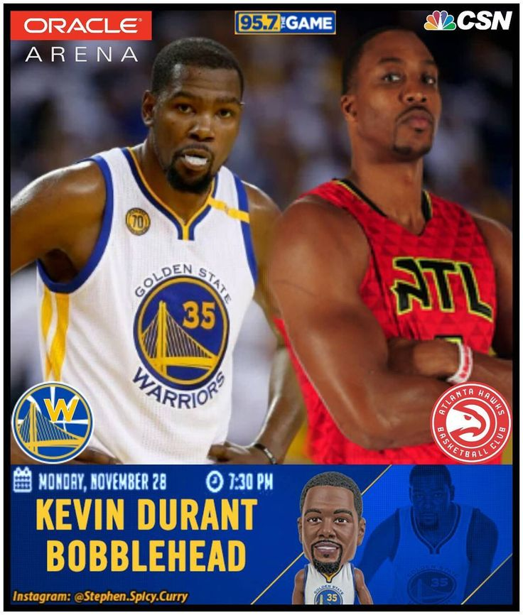 Everything's better when you get 'em by the dozen ... can the Dubs keep their winning streak alive tonight and make it 12 in a row?! Dub Nation say H YEAH! KD and the Warriors are waiting to take on Dwight Howard and his new team the Atlanta Hawks at Roaracle on Kevin Durant Bobblehead Night! First 10000 into Oracle Arena get a limited -edition KD bobblehead to take home! Game time's 7:30PM (Nov 28) and you can watch on CSN Bay Area or listen on 95.7 The Game. Game on! @stephencurry30…