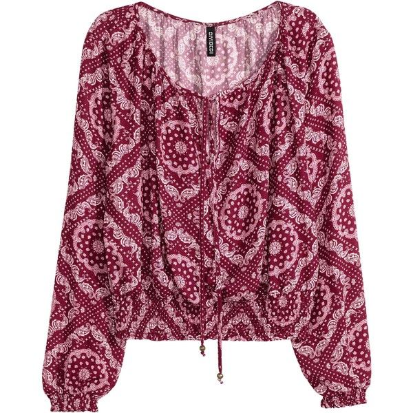 Bohemian blouse (49 BAM) ❤ liked on Polyvore featuring tops, blouses, tie top, smocked top, boho chic tops, print blouse and purple blouse