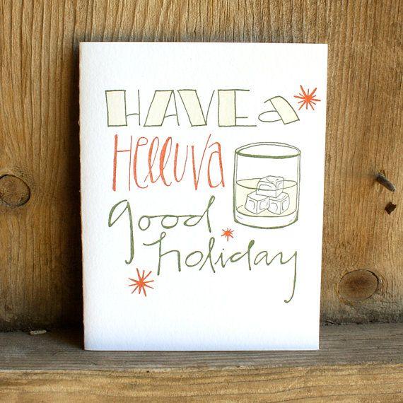 Helluva Good Holiday Letterpress Card by 1canoe2 on Etsy, $5.00