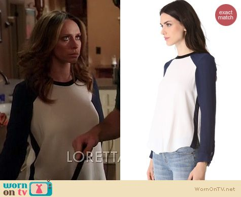 Riley's silk baseball blouse on The Client List.  Outfit details: http://wornontv.net/16685/